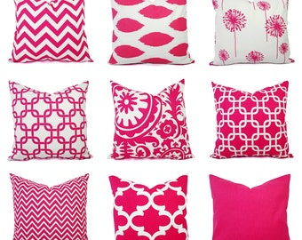 One Decorative Pillow Cover - Bright Pink and White Pillow - 20 x 20 inch - 16 x 16 Inch - Hot Pink Pillow - Chevron Pillow Cover