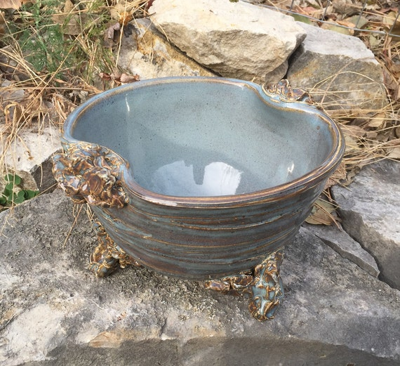 medium handled ceramic serving bowl in slate blue and brown