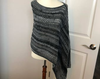 Asymmetrical Poncho (Striped)