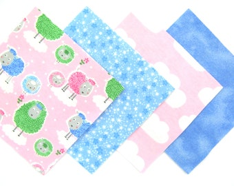 "48 Flannel Quilt Square Kit with 6""x6"" Flannel Squares in Fun Pink, Green and Blue Sheep, Stars, Clouds and Sky Matching Prints"