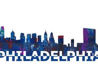 Philadelphia Skyline Silhouette In Clean Scissor Cut Style - Fine Art Print