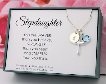 Easter gift for granddaughter jewelry sterling silver initial gift for stepdaughter jewelry sterling silver initial birthstone necklace step daughter birthday graduation baptism gift negle Images