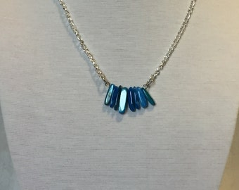 Dark Blue Mother of Pearl Stick Bead Necklace