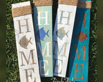 Fish Home Sign - Welcome - Fish sign - Home sign with Fish - Wooden home sign - Fish wooden sign - wood Fish sign - Fisherman sign - Beach