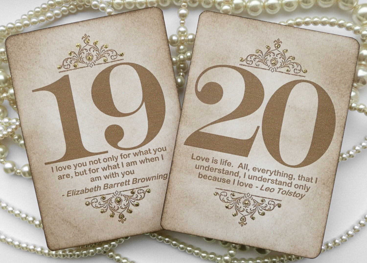 Gold wedding table numbers Vintage quotes table numbers Gold