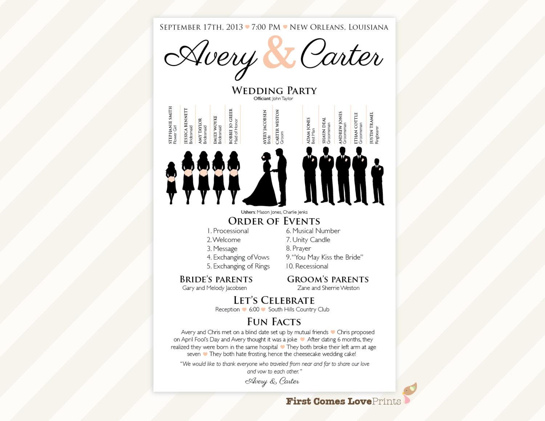 PRINTABLE Silhouette Wedding Program The Avery