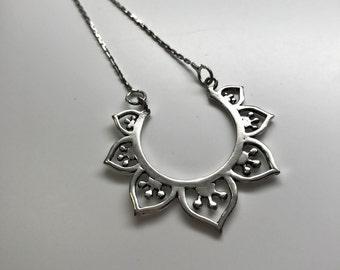 "Half Moon Lotus Flower Pendant 26"" Chain Necklace"