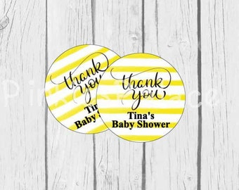 Thank You Stickers Yellow Stripes Personalized Baby Shower Stickers - Set of 24