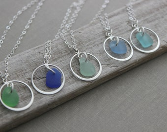 Sterling silver sea glass necklace - choice of color - Kelly green, cobalt blue, seafoam, cornflower blue or aqua blue - silver circle