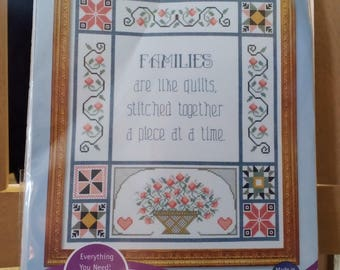 Extra #137 Families are Like Quilts - Counted Cross Stitch Kit with FREE SHIPPING