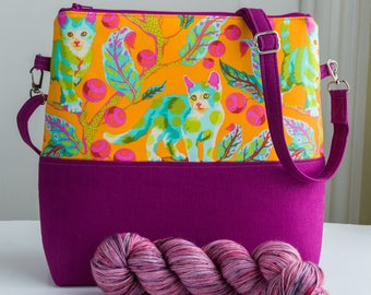 Project bag in Disco Kitty print with shoulder strap - medium sized and perfect for a larger shawl or sweater project