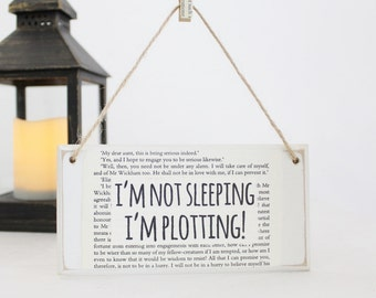 Gifts for Writers ~ I'm Not Sleeping I'm Plotting ~ Original Wooden Door Sign ~ Writer Gift ~ Literary Gift ~ Author Gift ~ NaNoWriMo