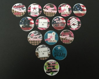 Army Princess Buttons Set of 15