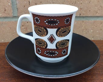 Meakin brown coffee cup and saucer
