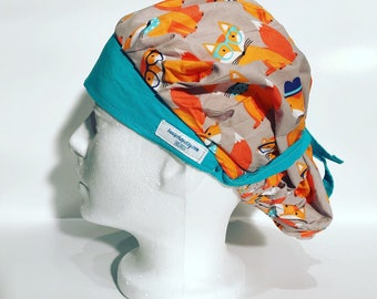 Bouffant Scrub Cap; Feelin' Foxy; fox scrub cap