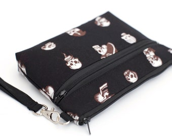 Black and White Voodoo Skull Wristlet with removable strap - punk rock