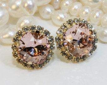 Bridesmaids Blush Pink Stud Earrings Bridal Swarovski Crystal Studs Antique Pink Blush Square Blush Wedding jewelry,Gold,Vintage Pink,GE115