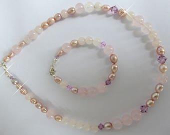 Rose Quartz, Freshwater Pearl, Swarovski Crystal, Necklace & Bracelet Set, Sterling Silver, 925, Gift, Mother of the Bride