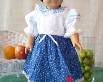 Handmade Doll Clothes White and Blue Dress fits any 18 inch doll