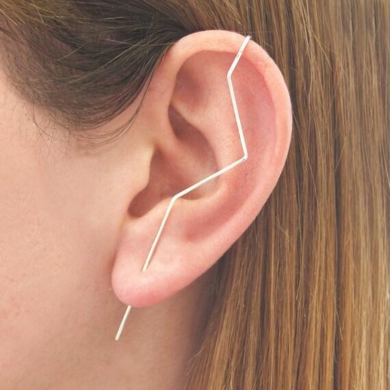 Zick Zack Ohr Stulpe, 925 Silber Ohrringe, Zick Zick Ohrring, Einzigartige Ohrring, Ausgefallene Ohrringe, Ohr Zu Fegen, Zierlichen Ohrring, Diagonale Ohrring Silber, by Etsy