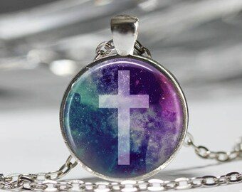 Cross Necklace, Constellation Jewelry, Religious God Galaxy Pendant [A51]