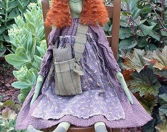 Haggie Lou EPATTERN - primitive halloween witch cloth doll craft digital download sewing pattern - PDF - 1.99