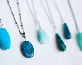 Turquoise Necklace, Gemstone Necklace, Boho Necklace, Create a Boho Look, Long Pendant Necklace, Long Layering Necklace, Teardrop Necklace