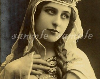 VINTAGE photo instant DIGITAL DOWNLOAD Gypsy Art Princess Printable Antique Photograph Victorian Beautiful Woman Bohemian Wiccan Tarot Witch