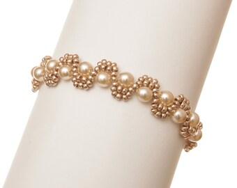 Beaded Bracelet Pattern Wedding Bracelet Tutorial Beading Pattern Seed Bead Bracelet Peyote Pattern Jewelry Tutorial PDF Pattern Beadweaving