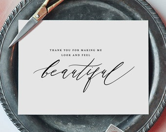 Thank You Card For Wedding Hair Stylist/Makeup Artist, Thank you for Making Me Beautiful Wedding Card, Wedding Thank You Cards, K6