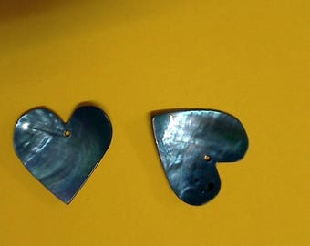 Mother of Pearl Royal Blue heart