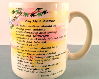 Vintage My Ideal Mother Sentimental Greeting Coffee Cup with Pink & Yellow Graphics. Blue Mountain Arts. Papel. 1980's Retro Gift for Mom.