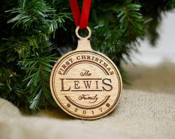 Our First Christmas Ornament Married Gift - First Christmas as Mr and Mrs - Personalized First Christmas Together Ornament - Ornament Home