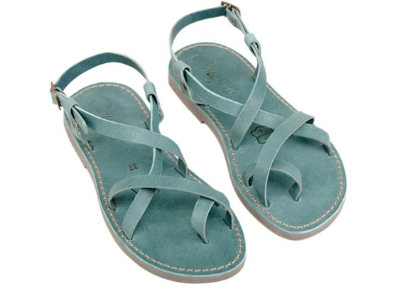 Sandals Sandals Leather Sandals Women Sandals Sandals Leather Flats Summer Summer Shoes Women's shoes Turquoise Sandals Strappy aTR1twqn1