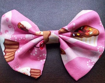 4 inch Handmade Pink Cupcake Pattern Fabric Hairbow Baking Bakery Frosting Sprinkles