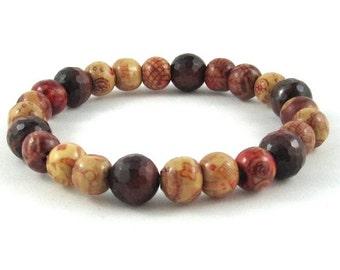 Men Beaded Bracelet, Worry Beads, Painted Wood Bracelet, Intuition Bracelet, Strength Tiger Eye Talisman Protection Balance Healing Bracelet