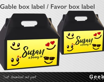 Emoji Inspired Style Party Gable Box Label - Digital or Printed - Happy face - Smile