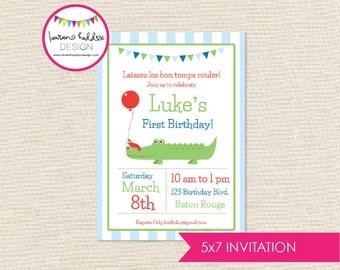Alligator Crawfish Birthday Invitation, Alligator Birthday, Crawfish Birthday, Louisiana Birthday Invitation, Lauren Haddox Designs