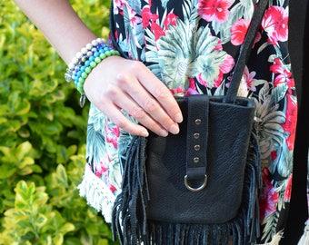 Black Buffalo Leather Fringe Crossbody Bag