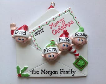Personalized Family of Four Christmas Ornament , Christmas , Best Friends, Coworkers, Bridesmaids, Bffs- Free Personalization