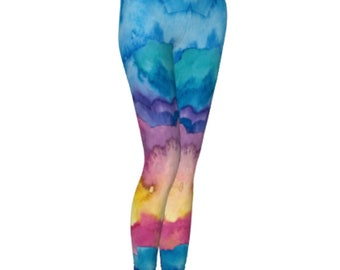 Rainbow Leggings, Youth Leggings with patterns, Womans legging, Rainbow Colored, Workout leggings for women, Colorful Printed Leggings