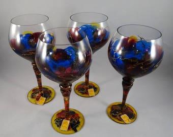 Rare Royal Danube Hand Painted Wine Glasses, Goblet Glasses, Hand Painted Barware, Stemware, Glassware, Colorful Wine Glasses