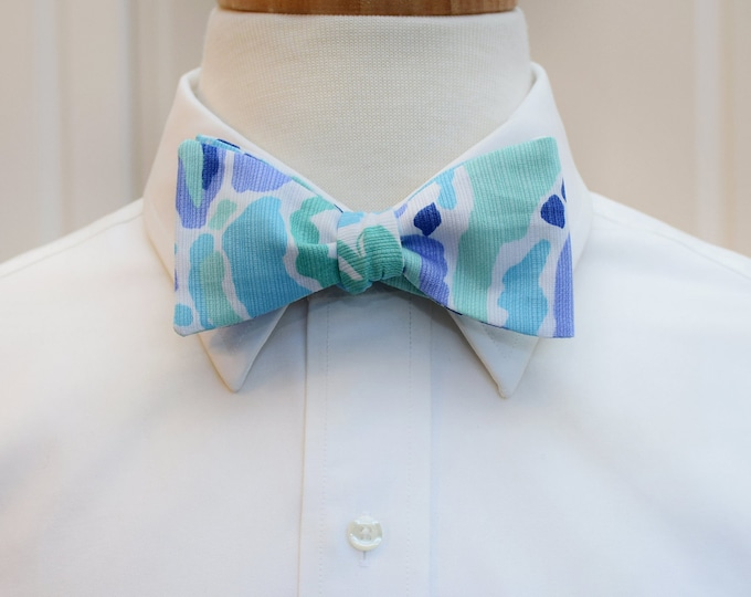 Men's Bow Tie, Nice Ink Lilly print bow tie, aqua/indigo/mint bow tie, groomsmen/groom bow tie, wedding bow tie, prom bow tie, tux accessory