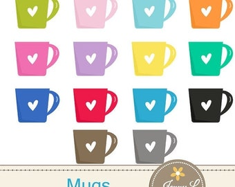 50% OFF Coffee Mugs Clipart for Planners, Digital Scrapbooking, Invitations, cupcake toppers, Stickers, Labels