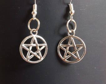Silver Pentagram earrings. Witch. Pagan. Priestess. Magic.