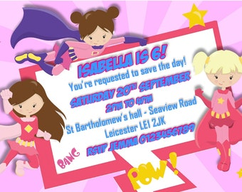 Printed Personalised Supergirls Birthday Party Invitations x10