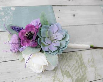 AMAZING Lilac Wedding Silk Succulent Wedding Bouquet - Peony Lavender Sprays Anemone Silk Flower Bridal Rustic Bouquet