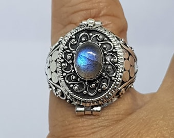 Rinjani 925 Bali Silver Poison Ring with 6x8mm real stone