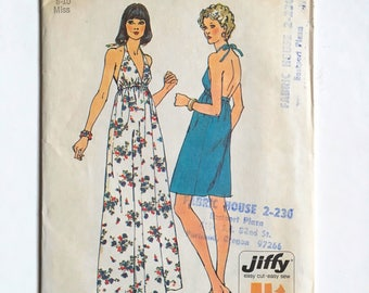 Vintage Sewing Pattern, Women's 70's Partially Uncut, Simplicity 6328, Halter Dress, Two Lengths (XS/S)
