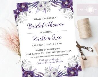 Bridal Shower Invitation, Floral Shower Invite, Bridal Shower Invite, Purple Bridal Shower Invite, Watercolor, DIY, Lavender, jadorepaperie
